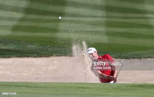 Dan Kirkwood of England plays a shot during round two of the Abu Dhabi HSBC Golf Championship at Abu Dhabi Golf Club on January 19 2018 / AFP PHOTO /...
