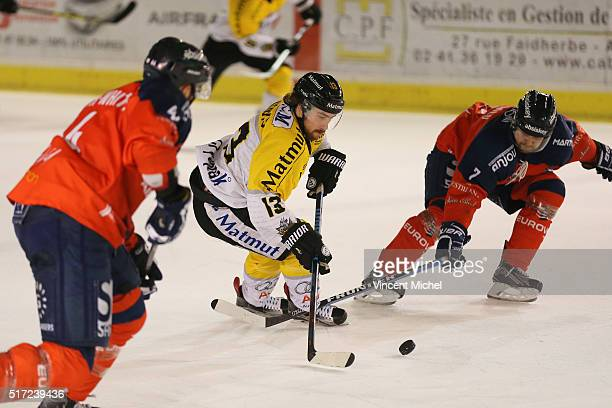 Dan Koudys of Rouen during the Ice hockey Ligue Magnus Final second game between Les Ducs d'Angers v Les Dragons de Rouen on March 23 2016 in Angers...
