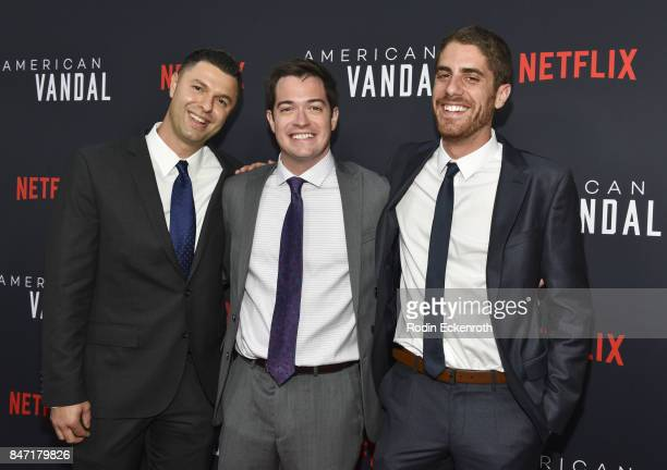 Dan Lagana Daniel Perrault and Tony Yacenda attend the premiere of Netflix's American Vandal at ArcLight Hollywood on September 14 2017 in Hollywood...
