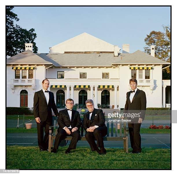 Dan Laukitis, Rob Silvay, John Dawson and Greg Beard, members of the Tuxedo Club Board of Governors are photographed for Town & Country Magazine on...