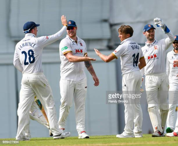 Dan Lawrence Matt Coles Aaron Beard and James Foster of Essex celebrate the dismissal of Sam Northeast of MCC during Day Two of the MCC Champion...