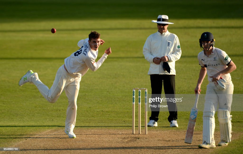 Dan Lawrence of Essex bowls during day one of the Specsavers County Championship Division One cricket match between Essex and Yorkshire at the Cloudfm county ground on May 4, 2018 in Chelmsford, England.