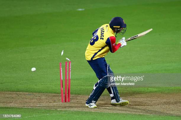 Dan Lawrence of Essex Eagles is bowled by Jordan Clark of Surrey during the Vitality T20 Blast match between Surrey and Essex Eagles at The Kia Oval...
