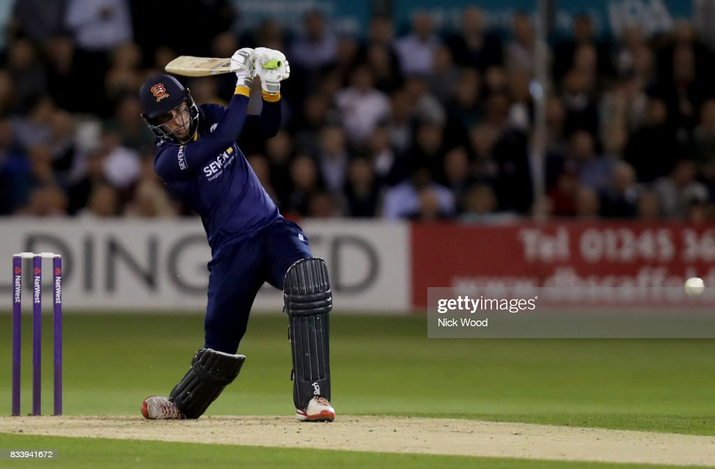 Dan Lawrence of Essex hits a boundary whilst batting during the Essex v Kent - NatWest T20 Blast (G) cricket match at the Cloudfm County Ground on August 17, 2017 in Chelmsford, England.