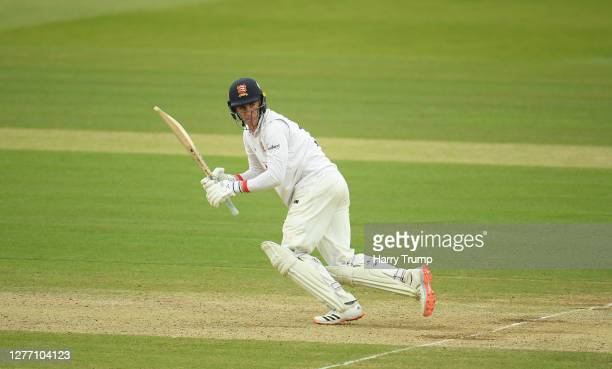Dan Lawrence of Essex plays a shot during Day Five of the Bob Willis Trophy Final match between Somerset and Essex at Lord's Cricket Ground on...