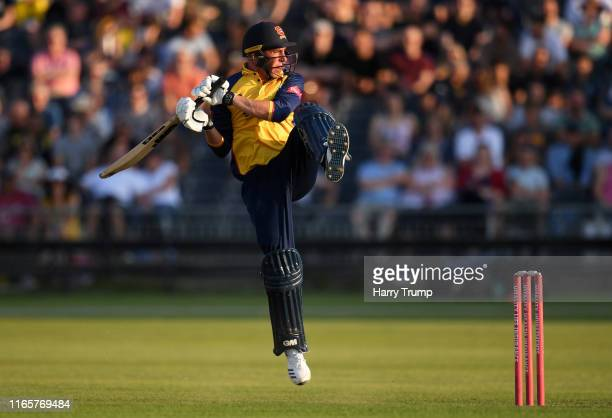 Dan Lawrence of Essex plays a shot during the Vitality Blast match between Gloucestershire and Essex Eagles at Bristol County Ground on August 02...