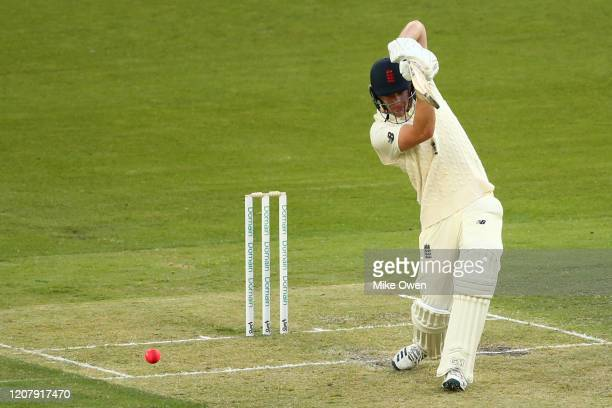 Dan Lawrence of the England Lions bats during the Four Day match between Australia A and the England Lions at Melbourne Cricket Ground on February 22...