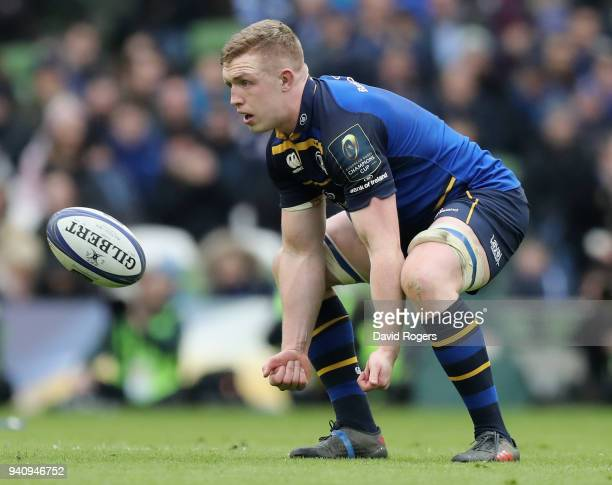 Dan Leavy of Leinster catches the ball during the European Rugby Champions Cup quarter final match between Leinster Rugby and Saracens at the Aviva...