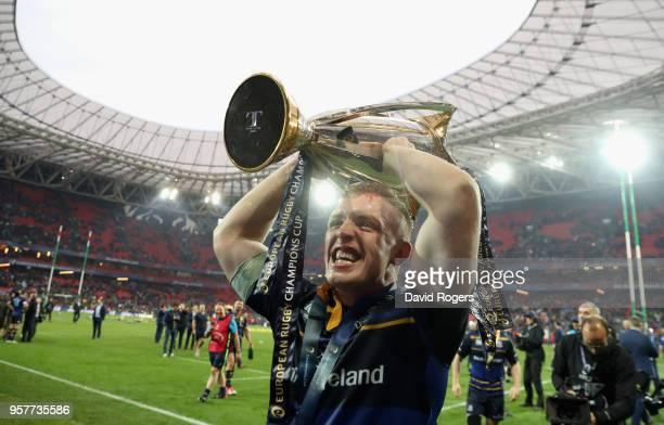Dan Leavy of Leinster celebrates their victory during the European Rugby Champions Cup Final match between Leinster Rugby and Racing 92 at San Mames...