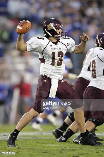 Dan LeFevour of the Central Michigan Chippewas passes the ball during the game against the Kentucky Wildcats on September 30 2006 at Commonwealth...