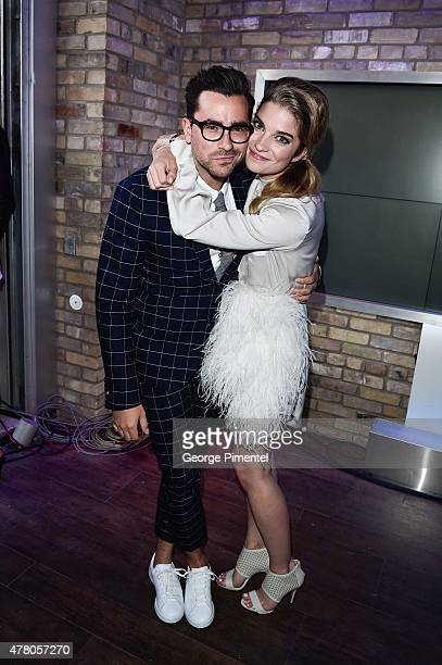 Dan Levy and Annie Murphy appears backstage at the 2015 MuchMusic Video Awards at MuchMusic HQ on June 21 2015 in Toronto Canada