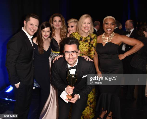 Dan Levy and cast of 'Schitt's Creek' Noah Reid Emily Hampshire Annie Murphy Jennifer Robertson Catherine O'Hara Karen Robinson receive Best Comedy...