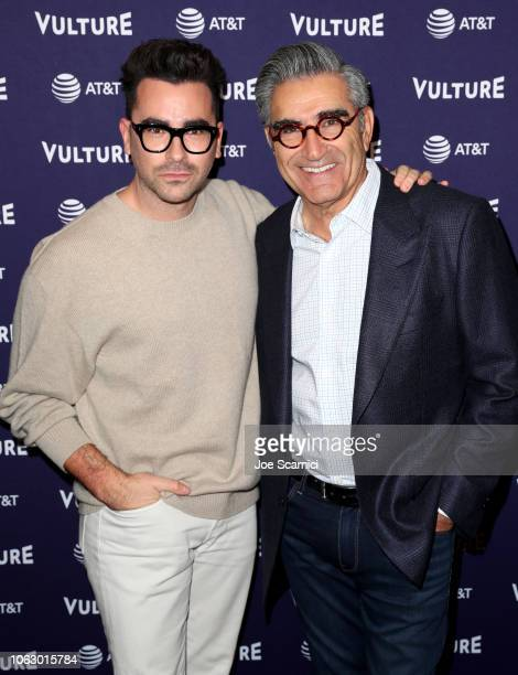 Dan Levy and Eugene Levy attend Vulture Festival presented by AT&T at Hollywood Roosevelt Hotel on November 17, 2018 in Hollywood, California.