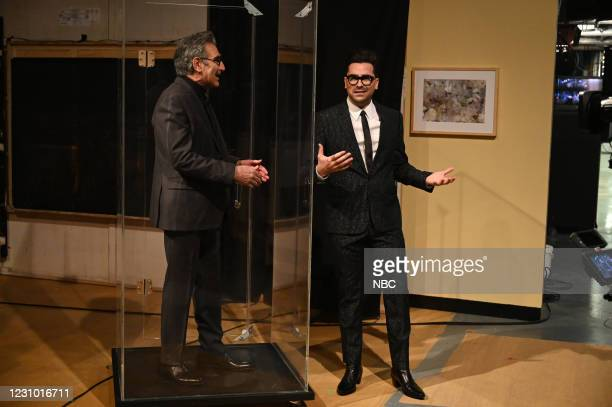 "Dan Levy"" Episode 1796 -- Pictured: Actor Eugene Levy and host Dan Levy during the Monologue on Saturday, February 6, 2021 --"