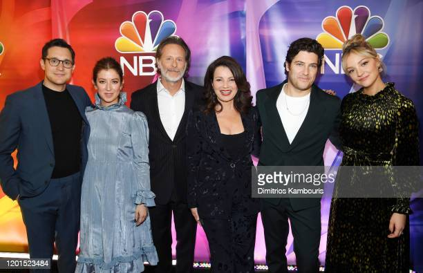 Dan Levy Jessy Hodges Steven Weber Fran Drescher Adam Pally and Abby Elliott from Indebted attend the NBC Midseason New York Press Junket at Four...