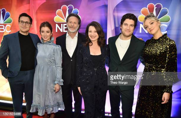 """Dan Levy, Jessy Hodges, Steven Weber, Fran Drescher, Adam Pally and Abby Elliott from """"Indebted"""" attend the NBC Midseason New York Press Junket at..."""