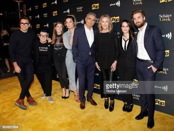 Dan Levy Lea DeLaria Sarah Levy Annie Murphy Eugene Levy Catherine O'Hara Emily Hampshire and Dustin Milligan attend the premiere of Pop TV's...
