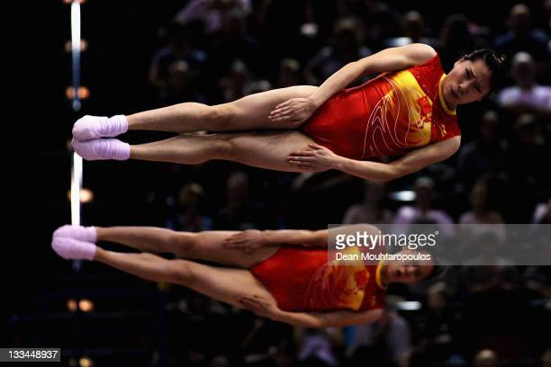 Dan Li and Xingping Zhong of China compete in the Synchronized Trampoline Womens Qualification during the 28th Trampoline and Tumbling World...