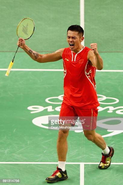 Dan Lin of China celebrates after defeating Srikanth Kidambi of India during the Men's Singles Quarterfinal Badminton match Day 12 of the Rio 2016...