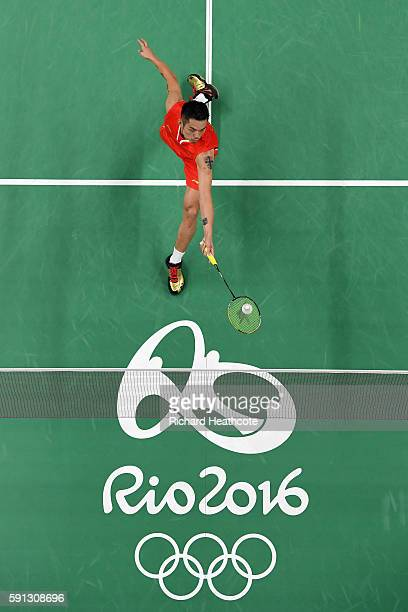 Dan Lin of China competes against Srikanth Kidambi of India during the Men's Singles Quarterfinal Badminton match Day 12 of the Rio 2016 Olympic...