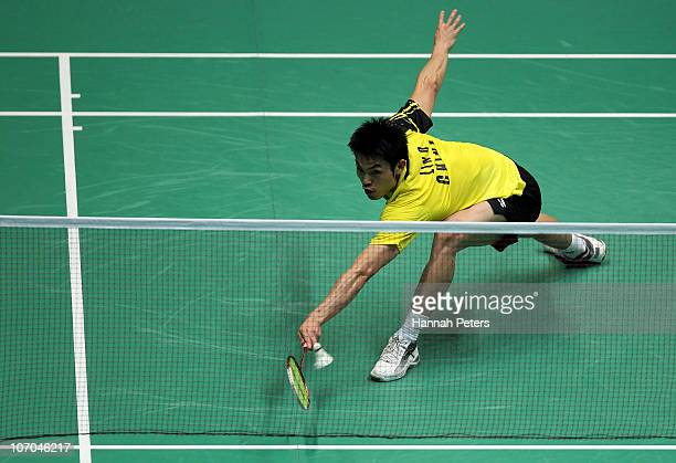 Dan Lin of China competes in the Men's Singles Final against Chong Wei Lee of Malaysia at Tainhe Gymnasium during nine of the 16th Asian Games...