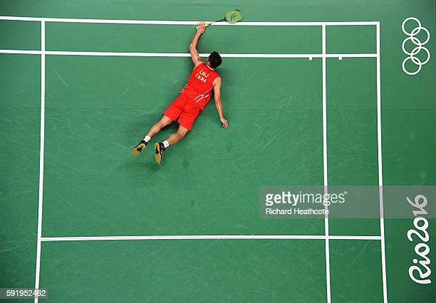 Dan Lin of China is defeated during the Men's Singles Badminton Semifinal against Chong Wei Lee of Malaysia on Day 14 of the Rio 2016 Olympic Games...