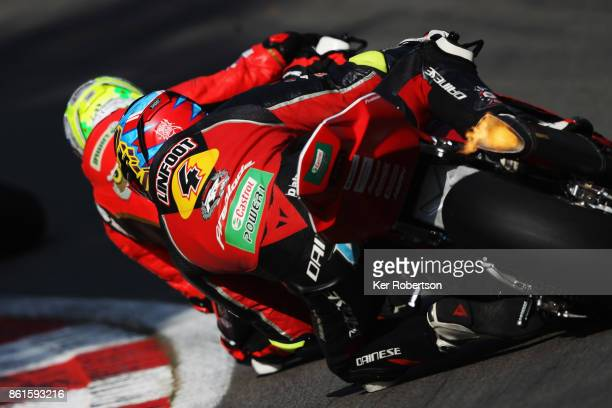 Dan Linfoot of Honda Racing rides during race two of the British Superbike Championship finale at Brands Hatch on October 15 2017 in Longfield England