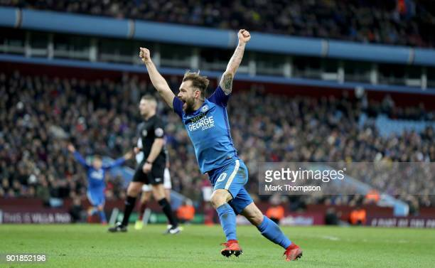 Dan LloydMcGoldrick of Peterborough United celebrates the goal scored by Jack Marriott of Peterborough United during The Emirates FA Cup Third Round...