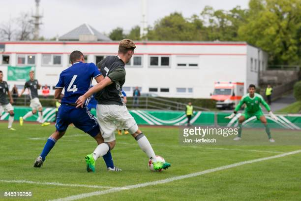 Dan Lugassy of Israel and Ole Pohlmann of Germany fight for the ball during the 'Four Nations Tournament' match between U17 Germany and U17 Israel on...