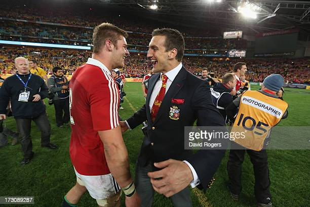 Dan Lydiate and Sam Warburton of the Lions celebrate after their victory during the International Test match between the Australian Wallabies and...