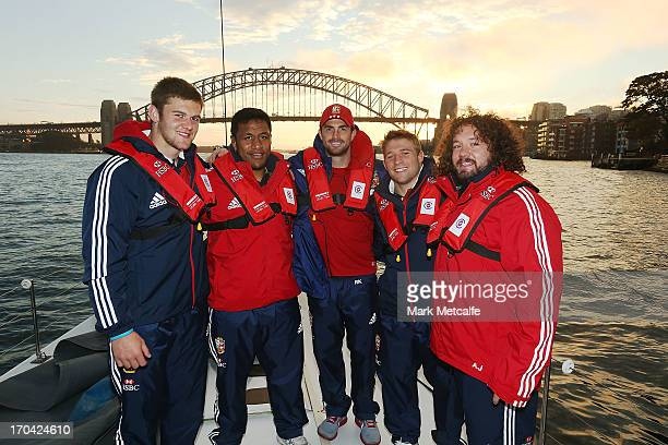Dan Lydiate Mako Vunipola Rob Kearney Tom Youngs and Adam Jones pose for a photograph during a sail on Sydney Harbour on June 12 2013 in Sydney...