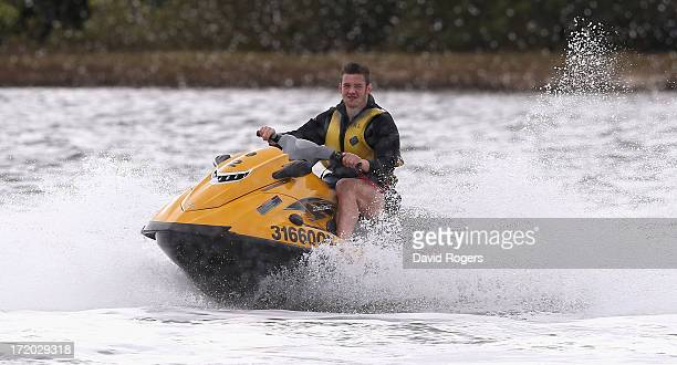 Dan Lydiate of the British and Irish Lions takes part in jetskiing in Noosa on July 1 2013 in Noosa Australia