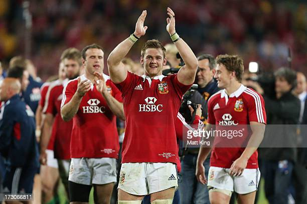 Dan Lydiate of the Lions celebrates following victory in the International Test match between the Australian Wallabies and British & Irish Lions at...
