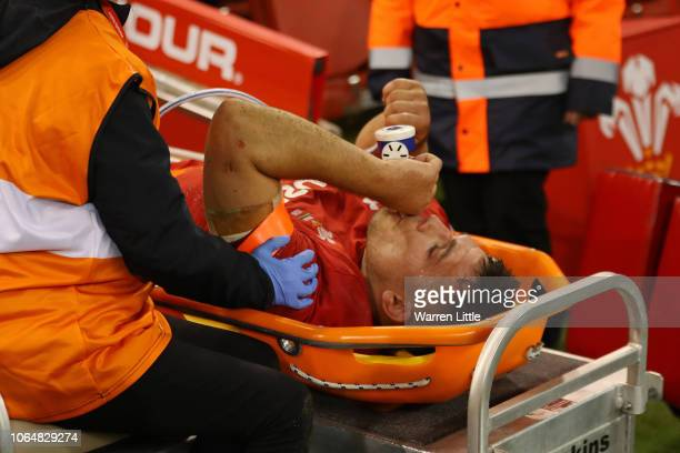 Dan Lydiate of Wales receives medical treatment after the International Friendly match between Wales and South Africa on November 24, 2018 in...