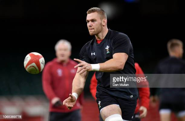 Dan Lydiate of Wales releases a pass during the Wales Captain's Run at the Principality Stadium on November 09, 2018 in Cardiff, Wales.