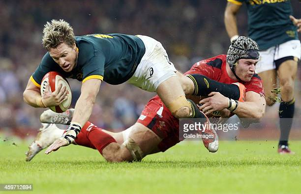 Dan Lydiate of Wales tackles Captain Jean de Villiers of South Africa during the Castle Lager Outgoing Tour match between Wales and South Africa at...