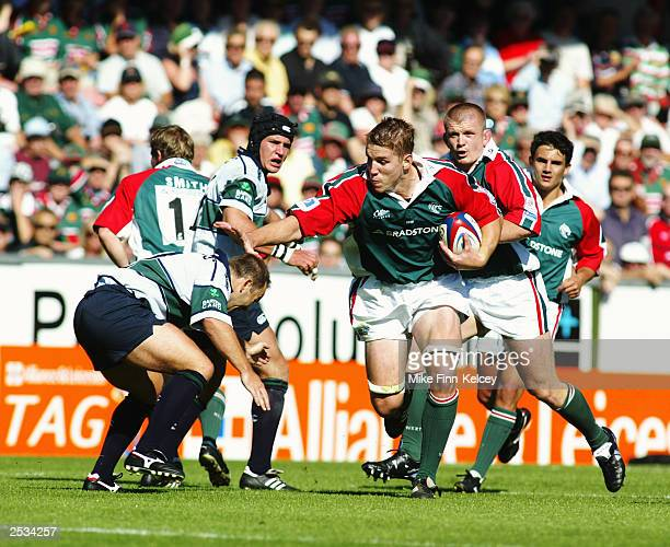 Dan Lyle of Leicester Tigers makes a break forward during the Zurich Premiership match between Leicester Tigers and London Irish held on September 13...