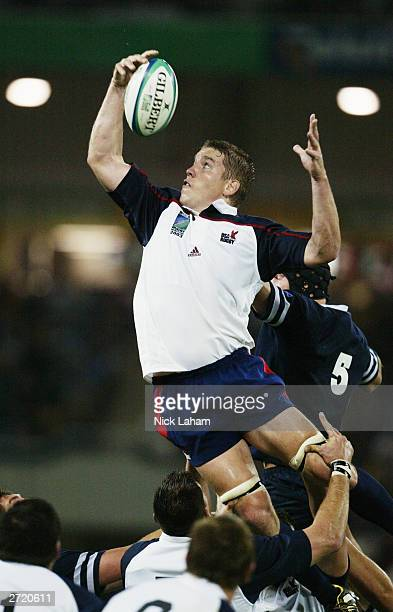 Dan Lyle of the USA wins the lineout ball during the Rugby World Cup 2003 Pool B match between Scotland and the USA held on October 20, 2003 at the...