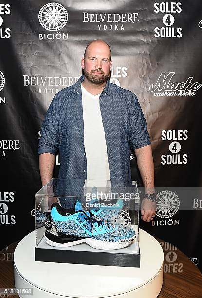 Dan 'Mache' Gamache attends the unveiling of 'The Fire Monkey' the world's most expensive sneaker to benefit Soles4Soles on March 29 2016 in New York...