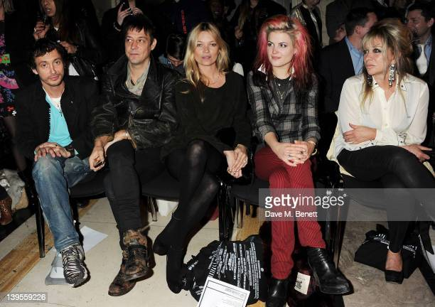 Dan Macmillan Jamie Hince Kate Moss Alison Mosshart and Jo Wood attend the James Small Menswear Autumn/Winter 2012 show during London Fashion Week at...