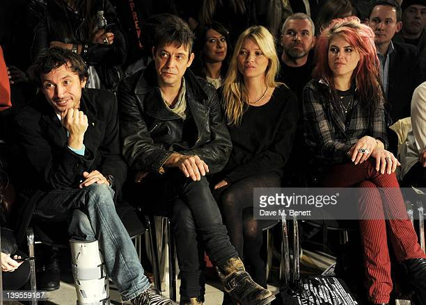 Dan Macmillan Jamie Hince Kate Moss and Alison Mosshart attend the James Small Menswear Autumn/Winter 2012 show at the Vauxhall Fashion Scout during...