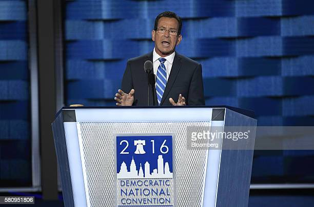 Dan Malloy governor of Connecticut speaks during the Democratic National Convention in Philadelphia Pennsylvania US on Monday July 25 2016 The...