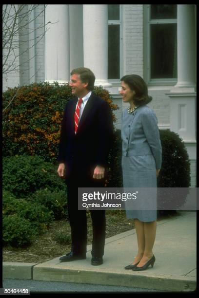 VP Dan Marilyn Quayle poised on sidewalk waiting for their guest Prince Charles of Britain to arrive
