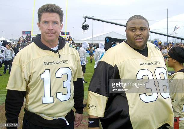 Dan Marino and Ruben Studdard during Super Bowl XXXVIII MTV's Rock n' Jock at MTV Compound at Reliant Stadium in Houston Texas United States