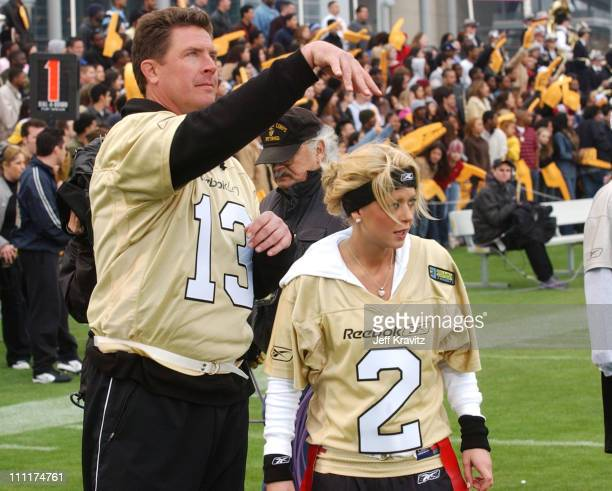Dan Marino and Tara Reid during Super Bowl XXXVIII MTV's Rock n' Jock at MTV Compound at Reliant Stadium in Houston Texas United States