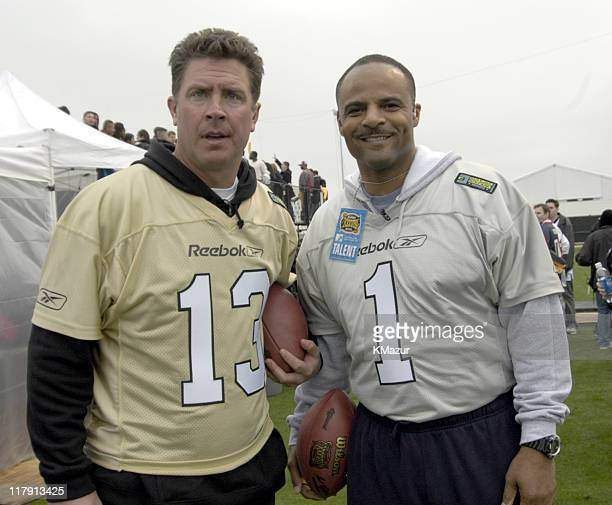 Dan Marino and Warren Moon during MTV's Rock N Jock Super Bowl XXXVIII at MTV Compound Near Reliant Stadium in Houston Texas United States