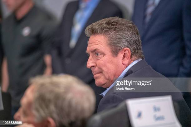 Dan Marino attends the press conference of the Miami Dolphins as they announce Brian Flores as their new Head Coach at Baptist Health Training...