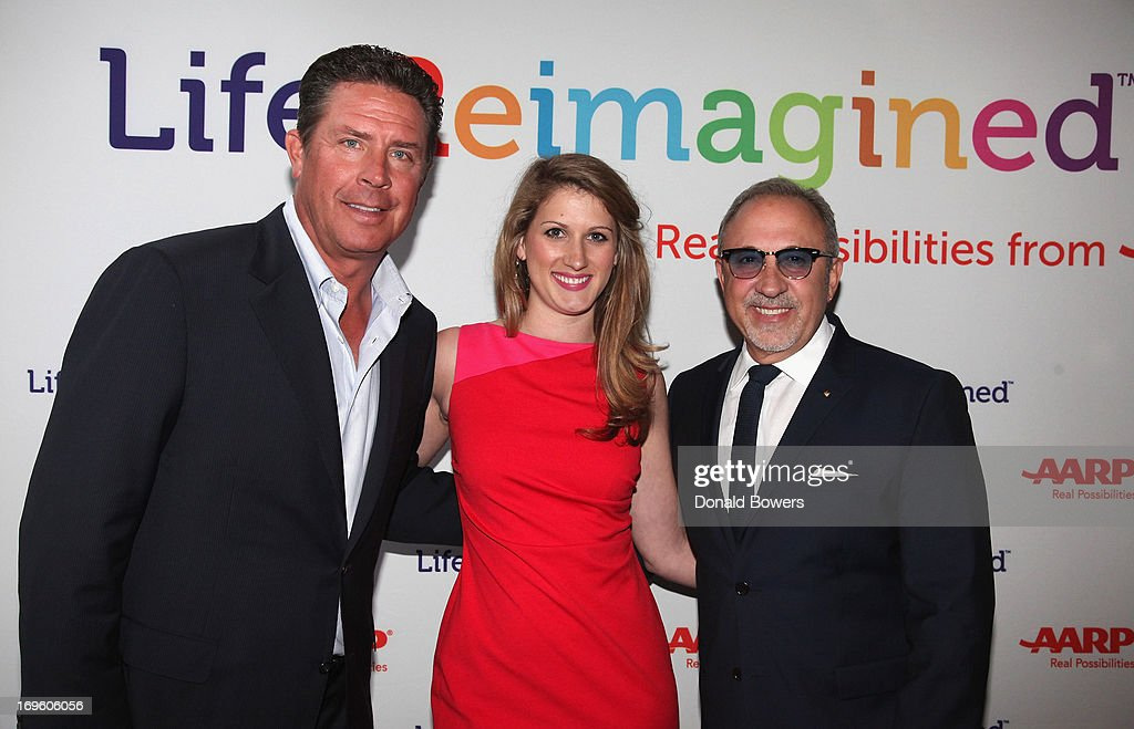 Dan Marino, Charlotte Castillo and Emilio Estefan attend The Launch of AARP's 'Life Reimagined' hosted by Emilio Estefan and Dan Marino at La Bottega Trattoria at The Maritime Hotel on May 28, 2013 in New York City.