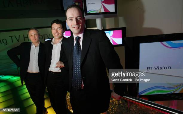 Dan Marks CEO of BT Vision Gavin Patterson MD of Consumer BT Retail and Ian Livingston CEO of BT Retail during the launch of BT's nextgeneration TV...