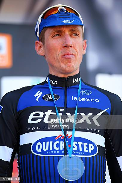 Dan Martin of Ireland and Etixx Quick Step looks on from the podium after finishing third in the 80th La Fleche Wallonne a 196 km race from...